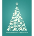 Christmas greeting card with a tree vector image vector image