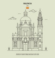 church santo tomas in valencia spain vector image vector image