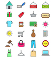 Color shopping icons set vector image vector image