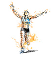 Colored hand sketch winning runner vector image vector image