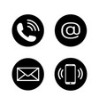 contact icons in flat style vector image vector image