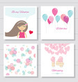 Cute cartoon valentines day or birthday cards and