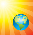 earth and rising sun vector image vector image