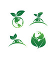 earth leaf logo design template vector image vector image