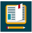 flat book with pen vector image vector image