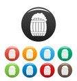full barrel icons set color vector image vector image