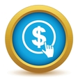 Gold dollar click icon vector image vector image