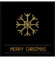 Gold glitter snowflake Merry Christmas card Dash vector image