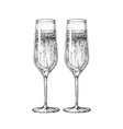 hand drawing two champagne glasses vector image