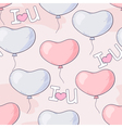 Hand drawn seamless pattern with heart balloons an vector image