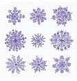 hand drawn snowflakes vector image