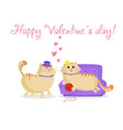 happy valentines greeting card with cute cartoon vector image vector image