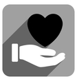 Heart Charity Hand Flat Square Icon with Long vector image vector image