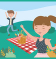 man and woman meadow blanket basket picnic nature vector image