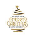 merry christmas ribbon pine tree greeting xmas vector image