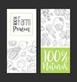 natural farm product card template with hand drawn vector image vector image