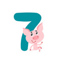 number seven with cute cartoon pig isolated on vector image vector image