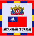 official ensigns flag and coat of arm of myanmar vector image vector image