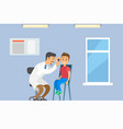 otolaryngologist with young patient vector image vector image