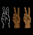 raised peace sign hand set vector image
