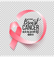 realistic pink ribbon isolated over transparent vector image vector image