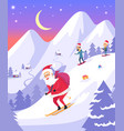 santa claus with bag sliding down snowy mountains vector image vector image