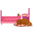 scene with brown dog sleeping bed vector image vector image