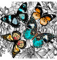 seamless wallpaper pattern with vintage butterlies vector image vector image