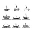 set of coffee and tea cup sketchy icons vector image vector image