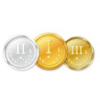 set of gold silver and bronze medals awards for vector image