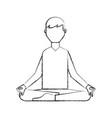 sketch draw lotus pose cartoon vector image