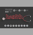 stethoscope in the shape of a health words design vector image vector image