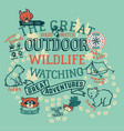the great outdoor wildlife watching vector image vector image
