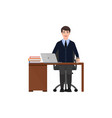 the guy sits in the office at the table and vector image vector image