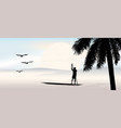 tropical view with palm tree at sunset vector image