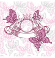 Vintage emblem with butterflies seamless pattern vector image vector image