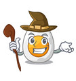 witch peeled boiled egg on mascot cartoon vector image vector image