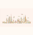 world skyline in outline style vector image vector image