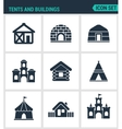 Set modern icons Tents and buildings tent vector image