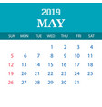 2019 calendar template - may vector image vector image