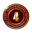 4 years anniversary golden label vector image vector image