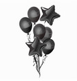 a bunch black balloons isolated on white vector image