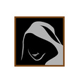 Anonymous logo template Monk shadowed face under vector image