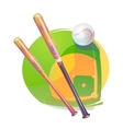 Baseball ball and crossed bats over diamond field vector image vector image