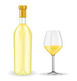 bottle of white wine with glass vector image vector image