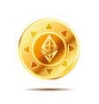 bright glossy golden coin with ethereum sign on vector image