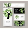 Business cards design green tree vector image vector image