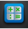 Calculator symbol icon on blue vector image