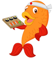 Cartoon chef fish holding sushi vector image
