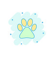 cartoon colored paw print icon in comic style dog vector image vector image